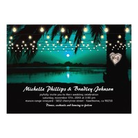 Beach Lake Palm Tree String Lights Teal Wedding Card