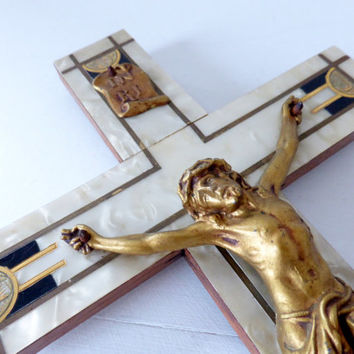 Vintage French Art Deco Wall Crucifix
