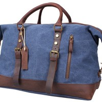 Blueblue Sky Oversized Leather Canvas Casual Travel Tote Luggage Duffel Handbag#831