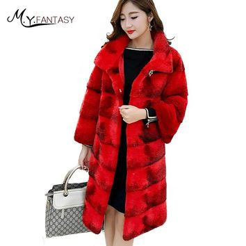 M.Y.FANSTY 2017 Real Natural Fur Mink Coat Winter Chinese Red Mandarin Collar Mink Coat Women's Crystal Button Mink Fur Coats
