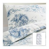 EMMIE LAND Duvet cover and pillowcase(s), white, blue - white/blue - Twin - IKEA