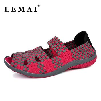 Women Weave Wedge Sports Walking Shoes, Summer Style Female Platform Sneakers Shoes For Women Trainers Shoes