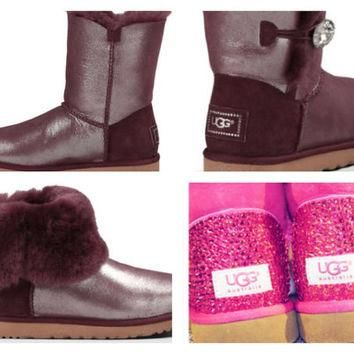 Custom UGG Boots made with Swarovski Bailey Button Bling Shimmer Free: Shipping, Repai