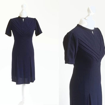 Vintage Navy Blue Dress - 50's 60's Vintage Dress - Knee Length Pleated Skirt - Metal Zipper Crepe Dress - Extra Small