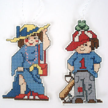 Cross Stitch Ornaments, Christmas Tree Ornaments, Dress Up LIttle Girl and Little Boy with Frog, Gift Embellishments, Counted Cross Sttich
