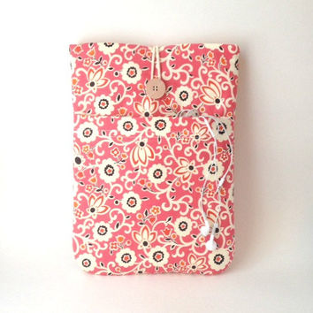 "Floral 12 "" MacBook Case or 11 Inch Mac Book Air Laptop Sleeve Coral Dandelion Cover Cord Pocket Padded Tablet Gadget Pink Flower Fabric Sac"