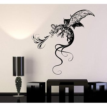 Vinyl Wall Decal Flying Firebringer Dragon Fantasy Fairy Tale Stickers Unique Gift (1261ig)