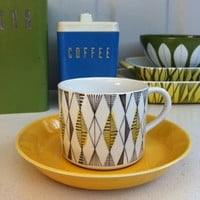 Rörstrand Sweden Curtis tea cup/espresso demitasse! 1950s Atomic era coffee can by Marianne Westman
