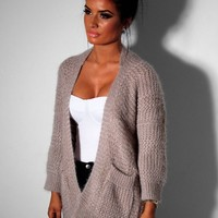 Marlee Nude Chunky Knitted Pocket Cardigan | Pink Boutique