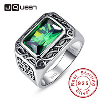 Emerald Cut Carving Flower Unisex Couple Rings Real Silver Vintage Rings Sterling Silver 925 Big Emerald Stones for Women & Men