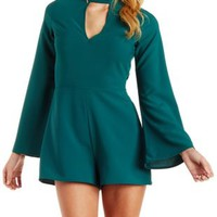 Emerald Plunging Mock Neck Bell Sleeve Romper by Charlotte Russe
