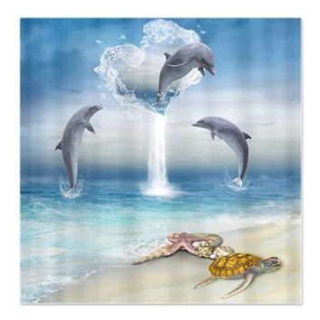 The Heart Of The Dolphins Shower Curtain> The Heart Of The Dolphins> Gatterwe