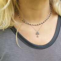 Pave Diamond Cross Necklace, Pave Cross, Oxidized Pave Diamond Necklace, Pave Diamond Jewelry, Oxidized Silver Diamond Cross Necklace