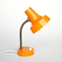 Vintage Gooseneck Table Lamp / Desk Lamp / Office Lamp / 60's 70's Retro Orange Lighting