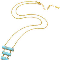 Turquoise Tiered Rectangle Natural Stone Pendant Necklace