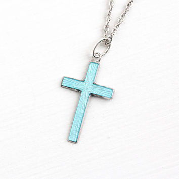 Vintage Sterling Silver Guilloche Enamel Cross Charm Necklace - Vintage Religious Petite Baby Blue Small Pendant Griffith R.L. Jewelry