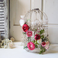 Vintage Decorative Bird Cage with Flowers, Shabby Chic Bird Cage with Peonies and Roses Lace and Pearls, Centerpiece, Wedding Decor