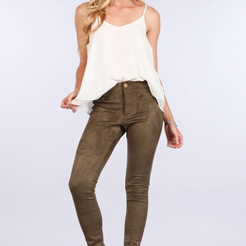 Blu Pepper Olive Suede Leggings - FINAL SALE
