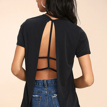 Backstory Black Backless Tee