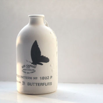 Fine bone china small white bottle with black butterfly illustration and text - illustrated ceramics