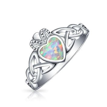 BFF Celtic Irish Friendship Couples Bezel Created Opal Claddagh Ring
