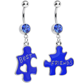 Blue Crystal Double Puzzle Piece Best Friends Dangle Belly Ring Set