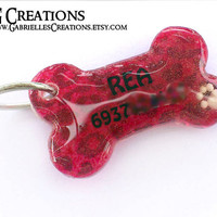 Red Bone Dog Tag with Leopard print and Paw - Waterproof Pet Bling with Animal Print
