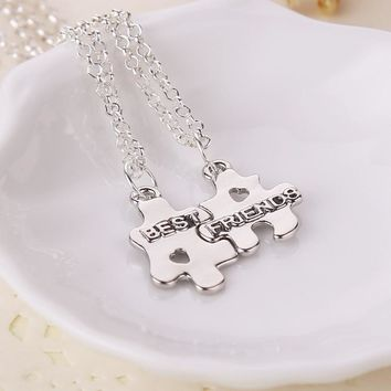 2 Pcs Best Friends Pendant Necklaces Silver Color Choker Neckless Stainless Steel Friendship Necklace Women Girls Jewelry GIFT