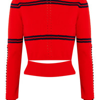Fendi - Cutout faille-trimmed striped pointelle-knit sweater