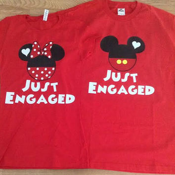 Free/Fast Shipping for US Just Engaged/Just Married Mickey and Minnie Couples Shirts