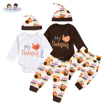 Mikrdoo Thanksgiving Baby Boys Girls Clothes My 1st Thanksgiving Outfit Long Sleeve Romper Turkey Print Pant with Hat 3PCS Suit