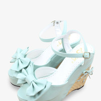 Sweety Bow-Knot Platform Wedge In Light Blue