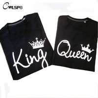 CWLSP King Queen T Shirt Crown Printing Couple Clothes lovers Tee Shirt Femme Summer T-shirt 2016 Casual O-neck Tops QA1155