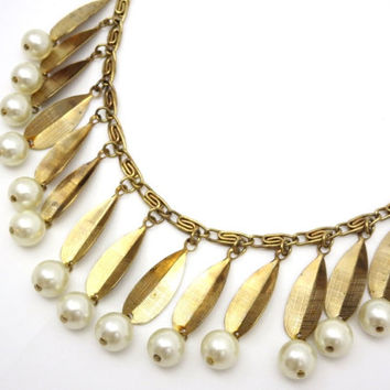 Pearl Bib Necklace - Gold Leaf Fringe Costume Jewelry