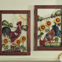 Metal Sculpted Country Rooster & Sunflowers Wall Art Left By Collections Etc