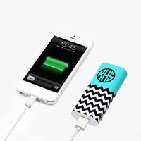 Mint Monogram Chevron Portable Power Bank Battery Charger for iPhone and Samsung