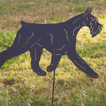 Giant Schnauzer Agility Garden stake  pet memorial Metal yard art garden sculpture gift steel