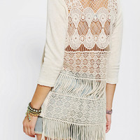 Staring At Stars Crochet Fringe Back Shirt