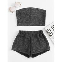 Sparkle Bandeau Top With Shorts GREY
