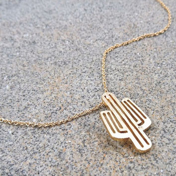 Dainty Gold Cactus Necklace