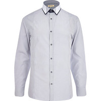 River Island MensGrey stripe contrast trim double collar shirt