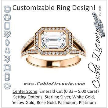 Cubic Zirconia Engagement Ring- The Kay Adaira (Customizable Bezel-set Emerald Cut with Halo and Split-Pavé Band)
