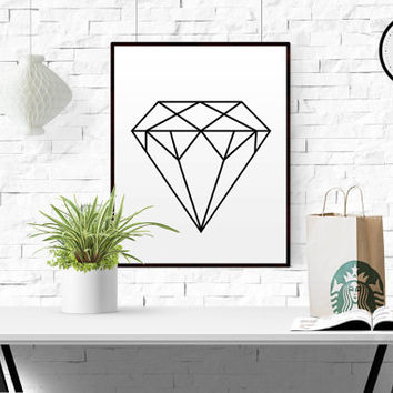 Geometric Diamond Poster Diamond Wall Art Geometric Print Home Decor Printable Poster Scandinavian Print Geometric Decor Affiche Scandinave