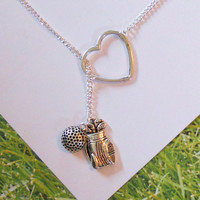 Golf Necklace with Heart golf ball and golf by MelissaMarieRussell