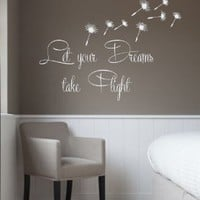 Wall Decals Vinyl Decal Sticker Beauty Salon Quote Let Your Dreams Take Flight Dandelion Flower Interior Design Art Murals Bedroom Living Room Decor