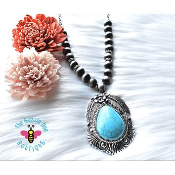 Turquoise Pendant Necklace Set