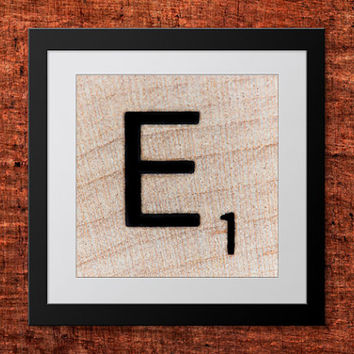 DIY Wall Art, Letter E-Personalized Word Art, Instant Download, Printable Letter, Scrabble Wall Art, Alphabet Art, Downloadable Image, Print