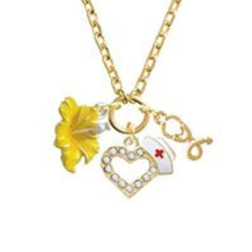 Yellow Hibiscus Flower Gold Tone Nurse Heart Stethoscope Zoe Necklace