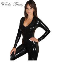 Black Gold Womens Faux Leather Wet Look PVC Catsuit LSexy Vinyl Leather Jumpsuit Hot Sale Gold Sexy Leather Bodysuit W7834