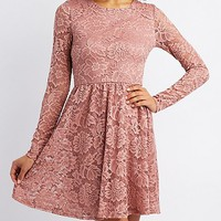 Long Sleeve Lace Skater Dress | Charlotte Russe